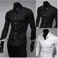 Free Shipping 2016 Mens Slim fit Unique neckline stylish Dress long Sleeve Mens dress Shirts