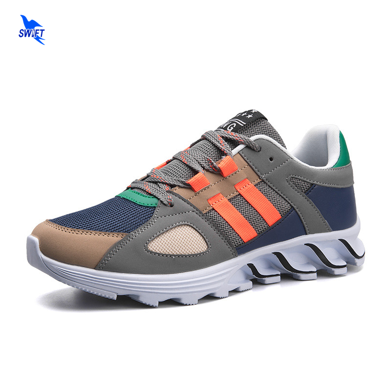 New Running Shoes EU 39-44 Mens Trends Mesh Breathable Jogging Shoe Outdoor Sport Walking Sneakers Blade Cushioning Rubber Sole
