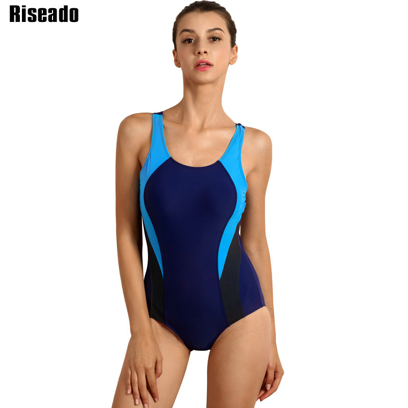 Riseado New 2018 Sport One Piece Swimsuit Competition Swimwear Women Women's Swimming Suits Patchwork Bathing Suits