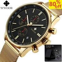 New Gold Chronograph Wristwatches Men Watches Stainless Steel WWOOR Waterproof Watch Quartz Male Clock Relogio Masculino 2019