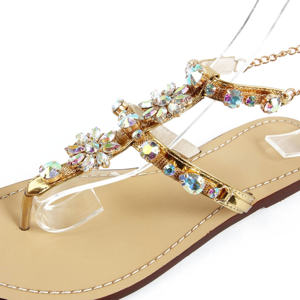 Rhinestones Chains Thong Gladiator Flat Women Sandals 3