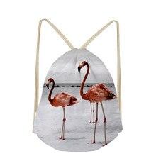 Flamingo Animal Pattern Custom Drawstring Bag for Girls Boys Women Casual Mochila Men Travel Storage School Case Shoulder Bags