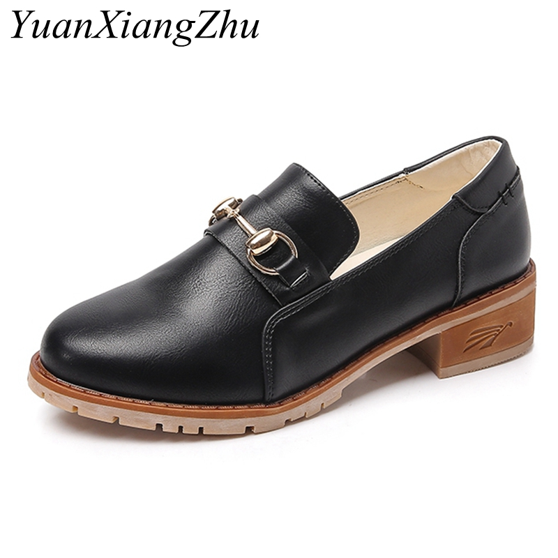 Plus Size 34-43 Women Flat Shoes Slip-On Round Toe Oxford Shoes Woman Loafers 2018 Summer New arrival Square heel Single Shoes dadawen boy s girl s slip on loafers oxford shoes