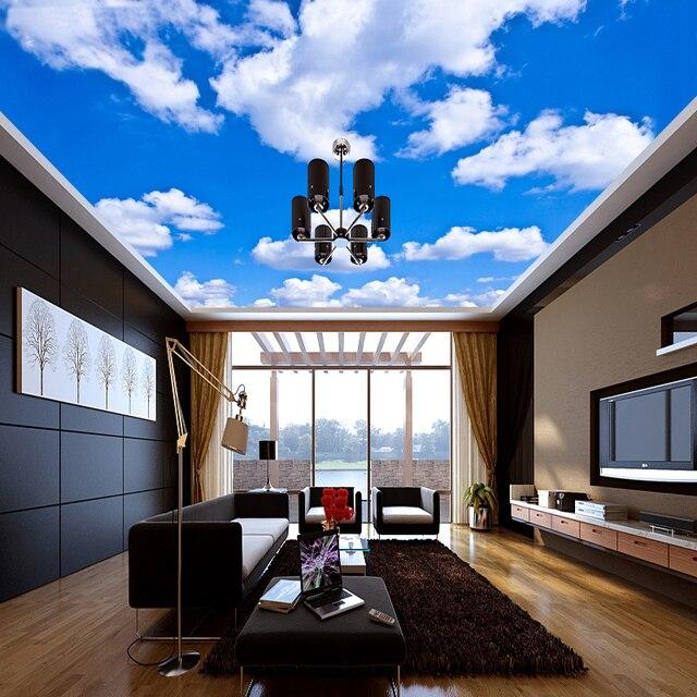 Пользовательские потолочные обои с изображением синего неба и белые фрески с изображением облаков для гостиной, спальни, потолочного фона, Настенные обои