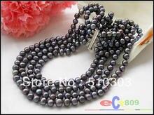 4 Strands  20″ 8 mm black round freshwater cultured pearl neckalce