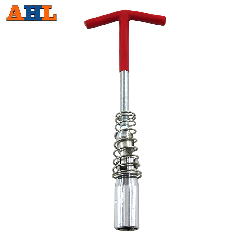 Motorcycle T-Handle 16mm Remover Installer Universal Joint Spark Plug Socket Wrench Hand Tool