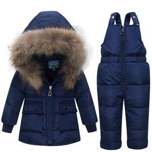Image 4 - Baby Verdikte Warm Wit Duck Down Set Zuigelingen Russische Winter Outdoor Grote Bontkraag Skipakken Kids Hooded Winddicht sets
