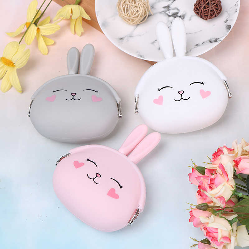 2019 Fashion Coin Purse Lovely Kawaii Cartoon Rabbit Pouch Women Girls Small Wallet Soft Silicone Coin Bag Kids Girls Gift