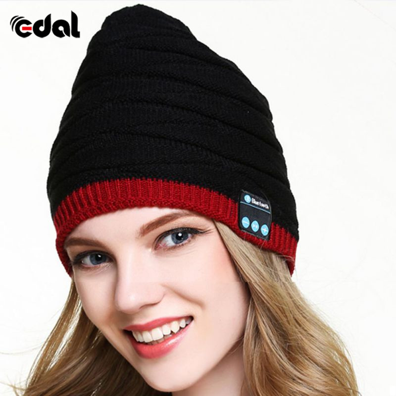 Winter Wireless Bluetooth Headphones Music Hat Smart Caps Headset Earphone Warm Beanies Hat With Speaker Mic For Sports autumn winter hat embroide warm sport beanies knitted hats for women men beanie ski wool caps de inverno gorros skullies beanies