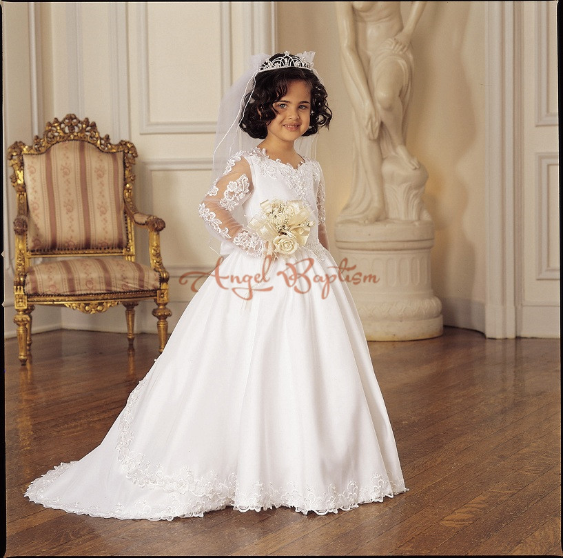 Elegant Long Sleeve Lace First Communion Dresses for Girls Vestidos de Comunion Casamento Flower Girl Dresses for Wedding elegant flower lace lacut cut wedding invitations set blank ppaer printing invitation cards kit casamento convite pocket