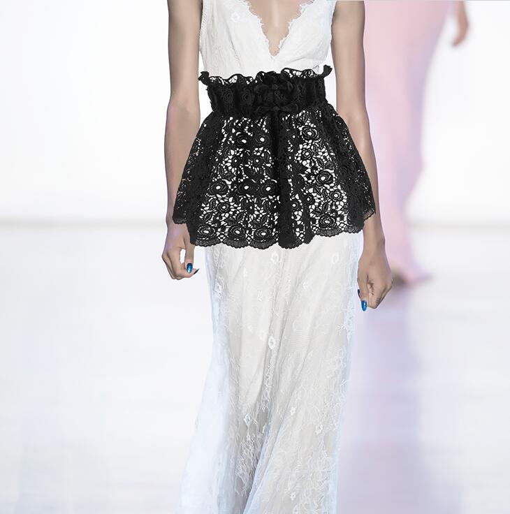 Women's Runway Fashion Elastic Waist Wide Lace Cummerbunds Female Dress Corsets Waistband Belts Decoration Wide Belt R1470