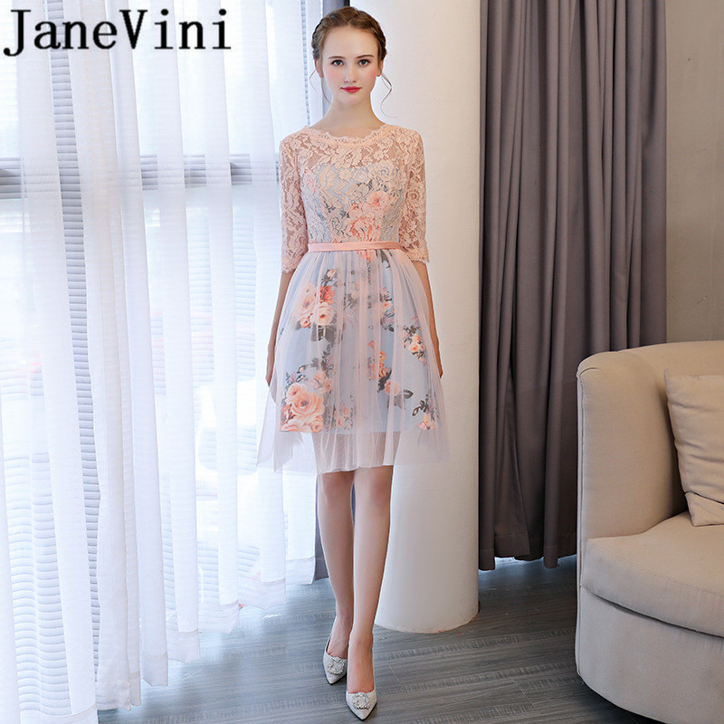 JaneVini 2018 Elegant Lace Short   Bridesmaid     Dresses   A Line 1/2 Long Sleeve Floral Print Zipper Back Above Knee Vestiti Damigella