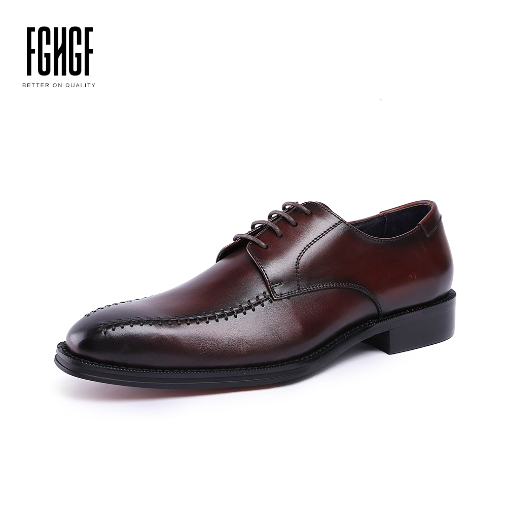Men's Leather Shoes Genuine Leather Round Toe Casual Retro Style Dress Wedding Business Shoes 2018 New Lace-up top quality england style retro mens cow genuine leather brogue shoes male casual shoes lace up round toe breathable wing tip