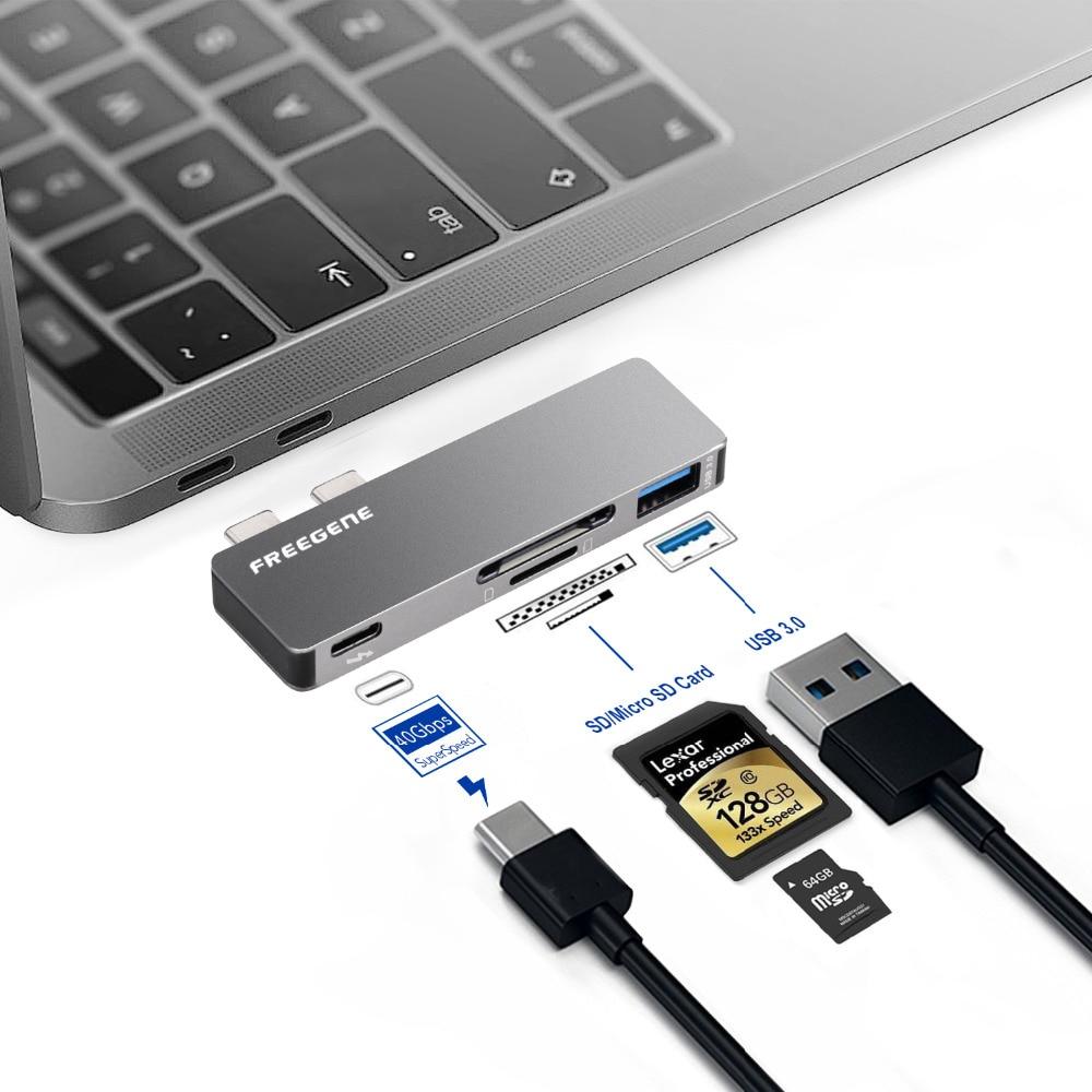 FREEGENE USB C HUB 4 in 1 Type-c HUB With USB 3.0 / SD Micro TF Card Slot Reader /  USB-C PD Power Adapter For Macbook Pro 13 15