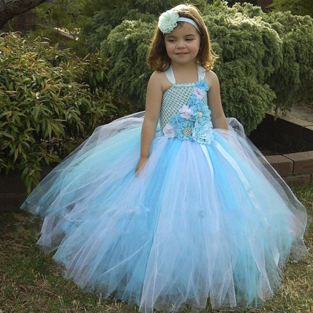 Beach Wedding Flower Girl Tulle Tutu Dress Blue Ocean Toddler Girls ...