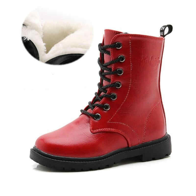 f8d75fef6 ... Boys Girls Boots Children's Winter Boots Shoes Waterproof Martin Boot  Ankle For Kids Female Snow Fur ...