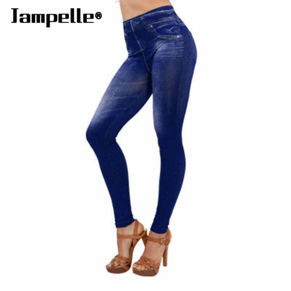 04592cd914 Jampelle Lady Denim Jeans cintura alta sin costuras Sexy Jeans Mujer Skinny  Stretch Slim lápiz pantalones