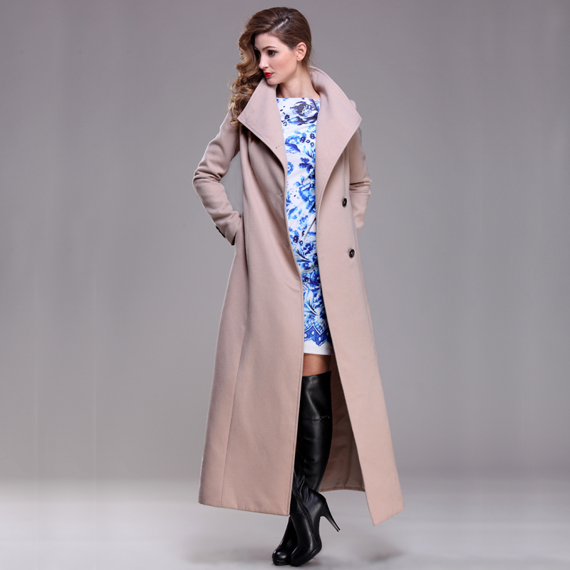 wool coat women s long maxi coat winter Wool Blends coat runway fashion thick warm wool