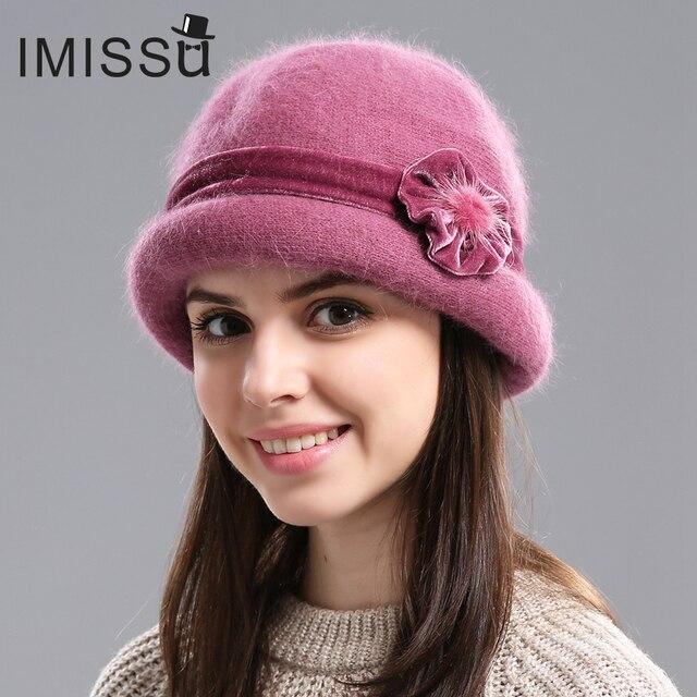 IMISSU Outono Inverno Fedora Cap Chapéu de Pele de Coelho para As Mulheres  Moda Casual Sólida 09b5d2199a2
