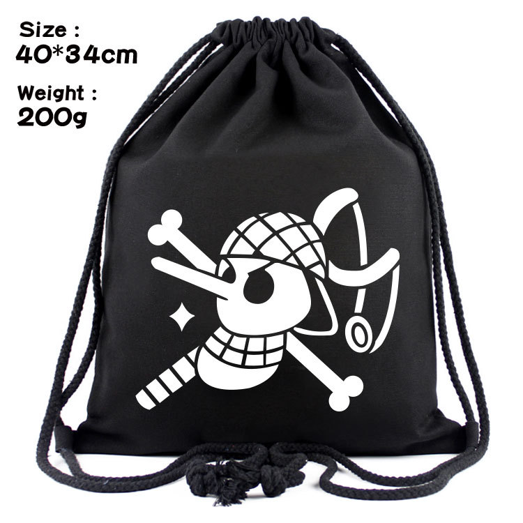 One Piece Black Anime Fashion Canvas Backpacks Cartoon Drawstring Backpack Casual String Bags Shopping Knapsack Unisex New Gifts