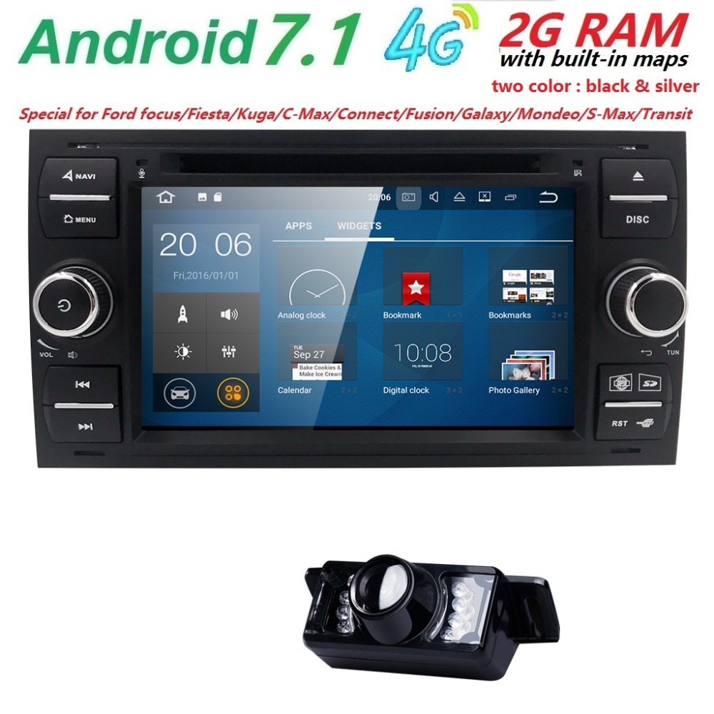 AutoRadio 2 din GPS Android 7.1 Car DVD Player For Ford Fiesta Focus 2 3 S C Max Mondeo Kuga Fusion GalaxyConnect Multimedia SWC