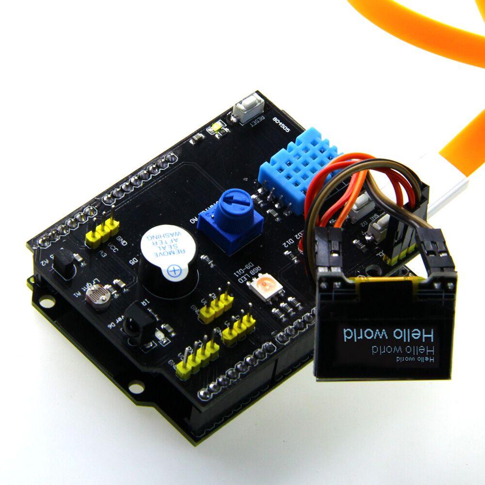 Multifonction Carte D'extension DHT11 LM35 Température Humidité UNO pour TTgo ESP32 rev1 WiFi D1 R32 X-OLED 0.96 pouce OLED Schild