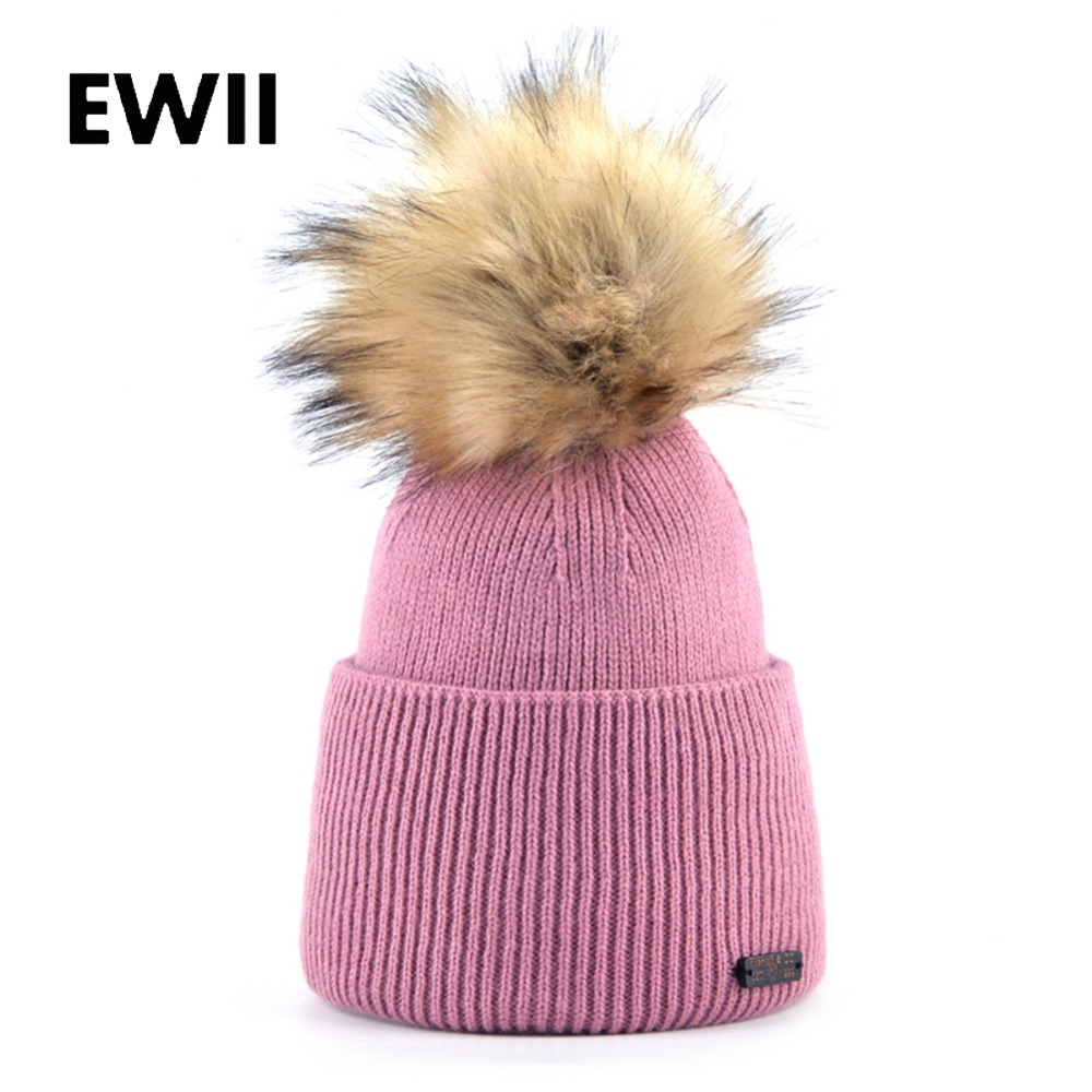 Women winter knitted hat girl beanie pompom caps women Imitation fur hats skullies ladies warm beanies cap chapeu feminino autumn winter beanie fur hat knitted wool cap with raccoon fur pompom skullies caps ladies knit winter hats for women beanies page 5