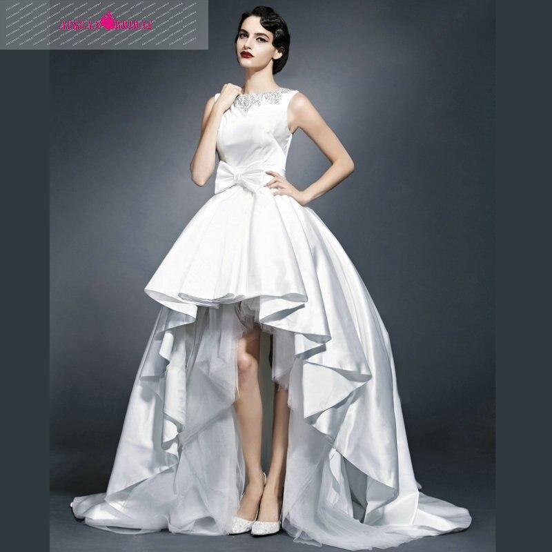 wyy10 elegante cuello alto vestido de boda trasero largo delantero