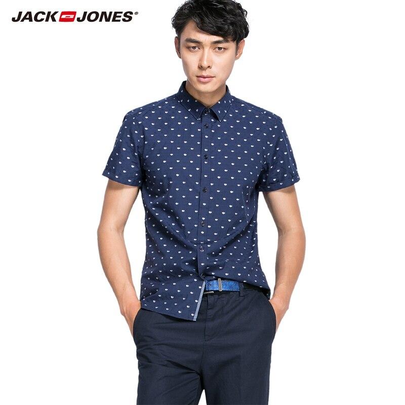 JackJones männer mode ausgezeichnete qualität 100% baumwolle komfortable kurzarm marineblau shirts männlichen...
