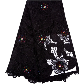 Guipure Lace Fabric 2018 Black African Cord Lace Fabric High Quality Polyester Nigerian Latest Lace Fabrics For Wedding 1016B