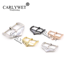 CARLYWET 14 16 18 20 22mm Wholesale Men Women 316L Stainless Steel Silver Black Rose Gold 2mm Tang Tongue Pin Watch Buckle