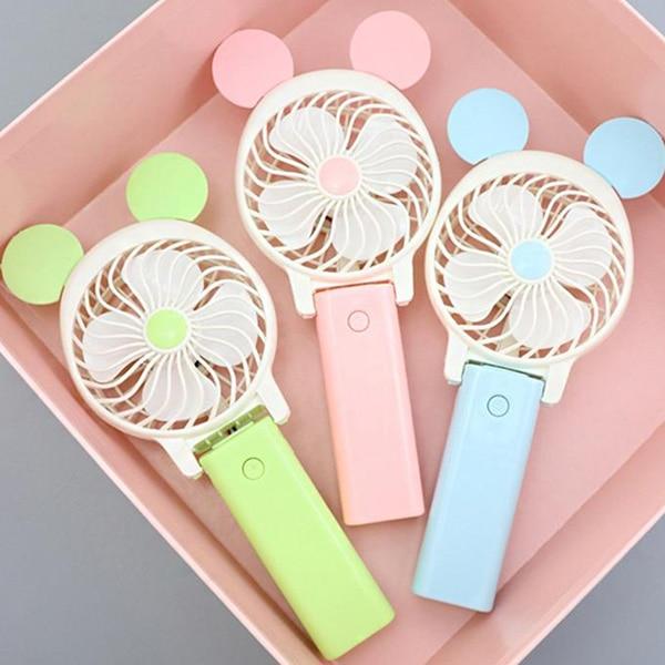 Multifunction Handheld Folding Mini Fan Cartoon Design USB Charging 800mAh Built-In Battery Mini Fan For Hand Table Use