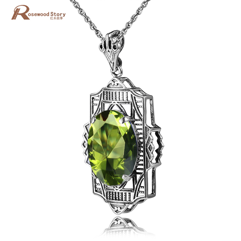 цена на Brand Bulgaria 925 Sterling Silver Peridot Pendant Necklace Fit Chain Necklace Pendant For Women Party Vintage Jewelry Wholesale