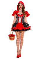 Sexy Little Red Riding Hood Costume Halloween Dress Adult Women Festival Party Fancy Suit Fairy Tale Cosplay Dress With Cloak