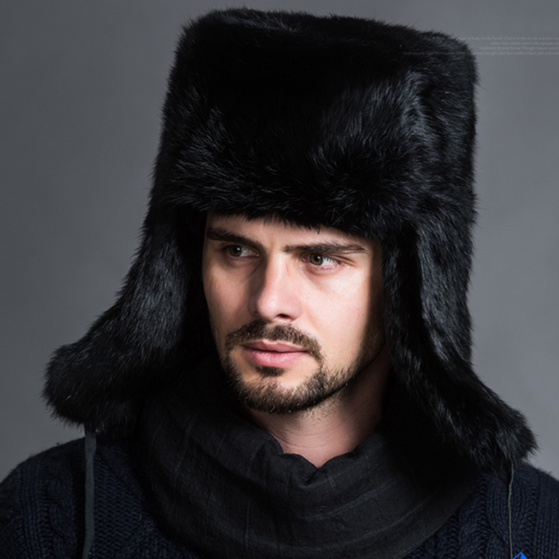 Naiveroo Caps Bomber-Hats Ear-Warmer Russian Winter Earflap Male Fashion Black Solid title=