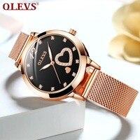 Horloges vrouwen Black Women Watches Luminous Rose Gold Stainless Steel Quartz Female Clock Love Heart Ladies Watch bayan saat