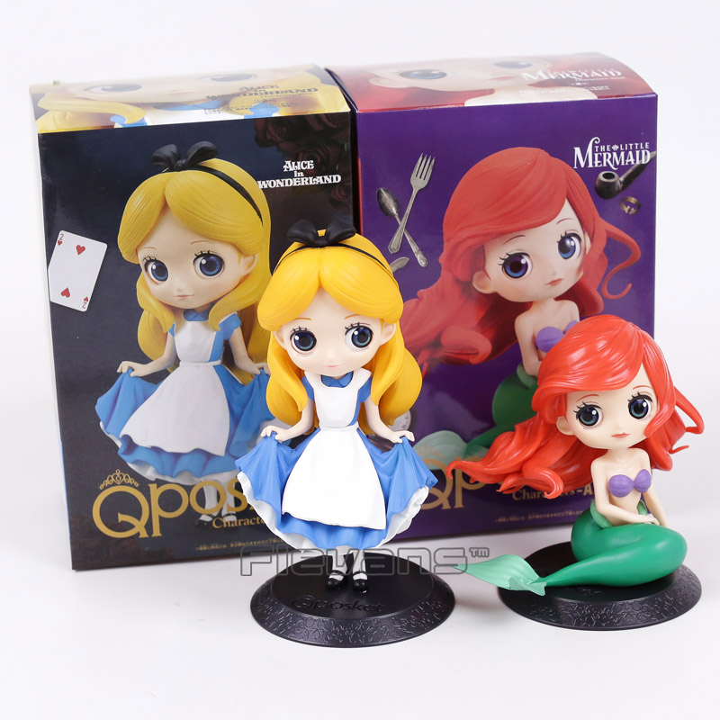 Q Posket Characters Alice Alice in Wonderland / Ariel The Little Mermaid PVC Figure Collectible Model Toy Girls Gift