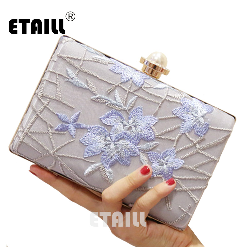 ETAILL Blue Flower Embroidered Evening Bags for Women 2017 Vintage Clutch National Bag Wedding