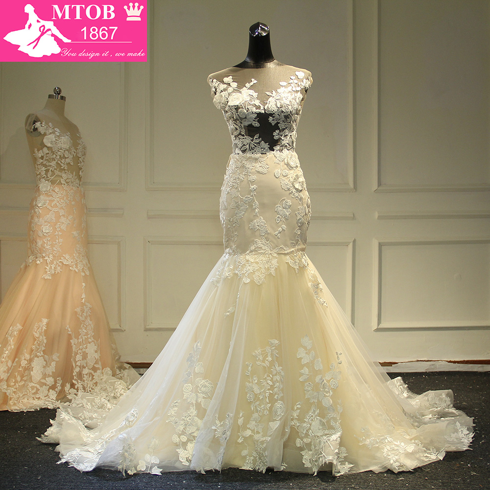 Champagne Sirène Dentelle Robe De Mariée 2018 Backless Voir Au Travers Robes de mariée Robe De Mariage MTOB1734