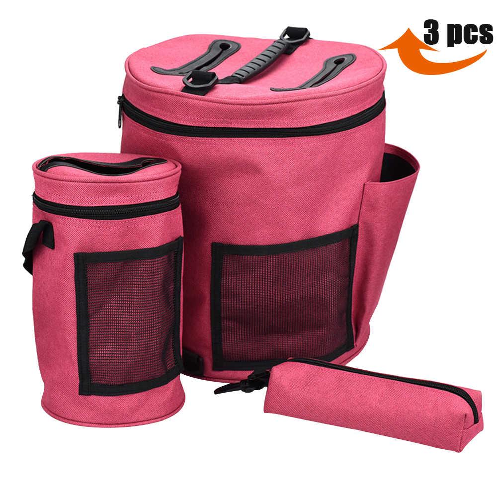 KOKNIT 3 шт./компл. сплетенные сумки Пряжа сумка-Органайзер сумка Портативная сумка для хранения для вязания крючком и вязания Органайзер чехол для женщин подарок