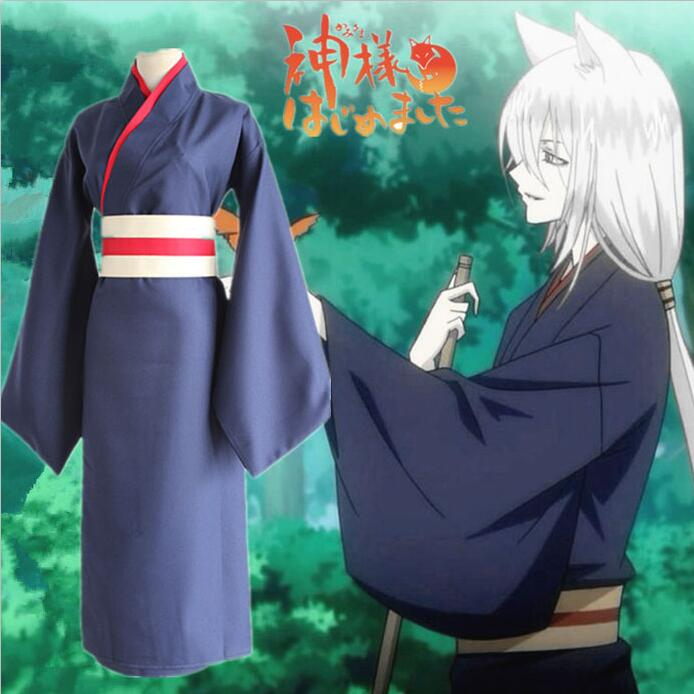 Anime Kamisama Hajimemashita / Kamisama Kiss Tomoe Uniform Cosplay Costumes Kamisama Love Full Set Kimono ( Robe + Belt )