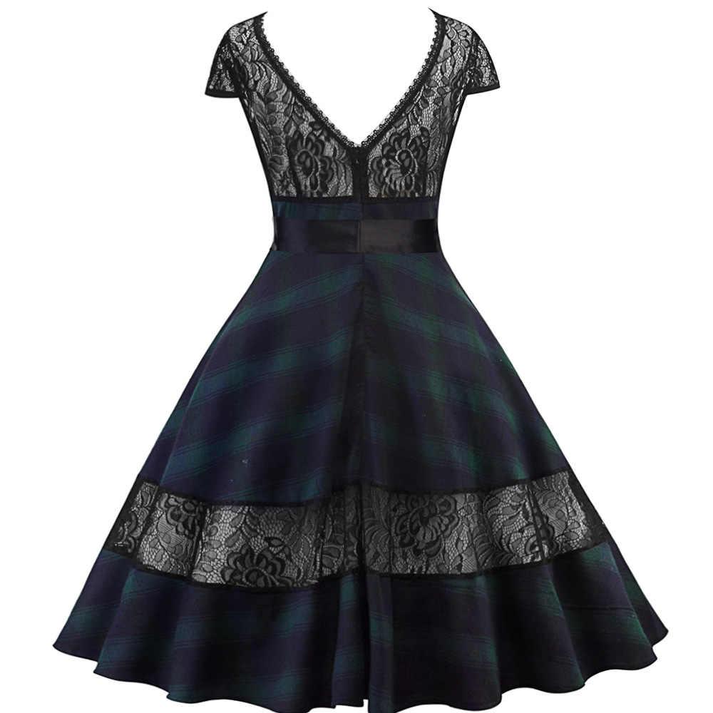 Joineles весна лето Одри Хепберн 1960 s рокабилли женское винтажное платье клетчатый плед с принтом кружевное ретро платье вечерние платья