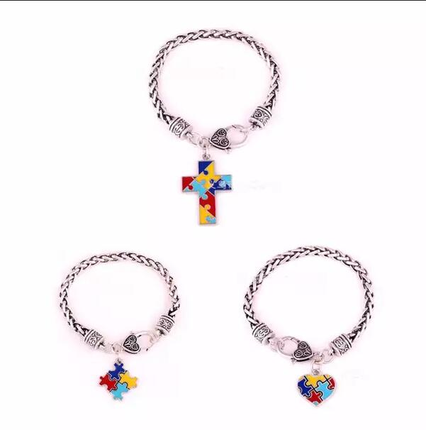 Autism Awareness Puzzle Jigsaw Classic Silver Plated Fashion Square Enamel Charm Bracelet Jewelry B238(China)