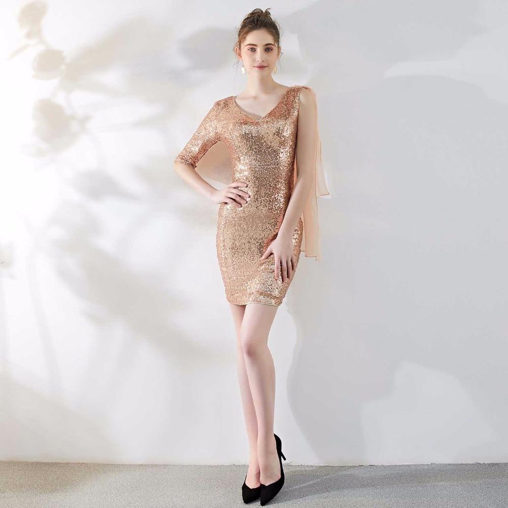 Or une épaule demi manches col en V gaine Sexy Mini Sequin Club robe robes de soirée élégantes femmes soirée 2019 Banquet porter