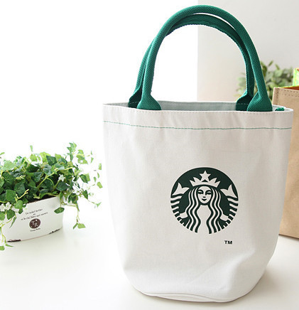 Ping Bags Natural Canvas Tote Starbucks Printed Fashion Reusable Lunch Bag For School Work