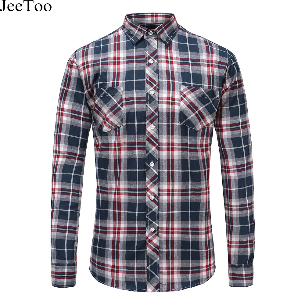 Autumn men shirts 2017 long sleeve slim fit mens casual for Mens warm flannel shirts