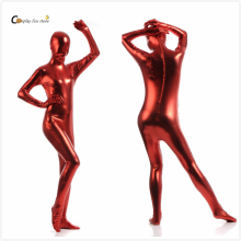 2017 Shiny Lycra Spandex Shiny Wine Red women's Unitard Catsuits Metallic Footed Zipper Zentai Bodysuit цена