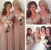 Платья подружки невесты цвета шампань 2019 расшитые блестками шифоновые с v образным вырезом длинное официальное вечернее платье Сверкающее