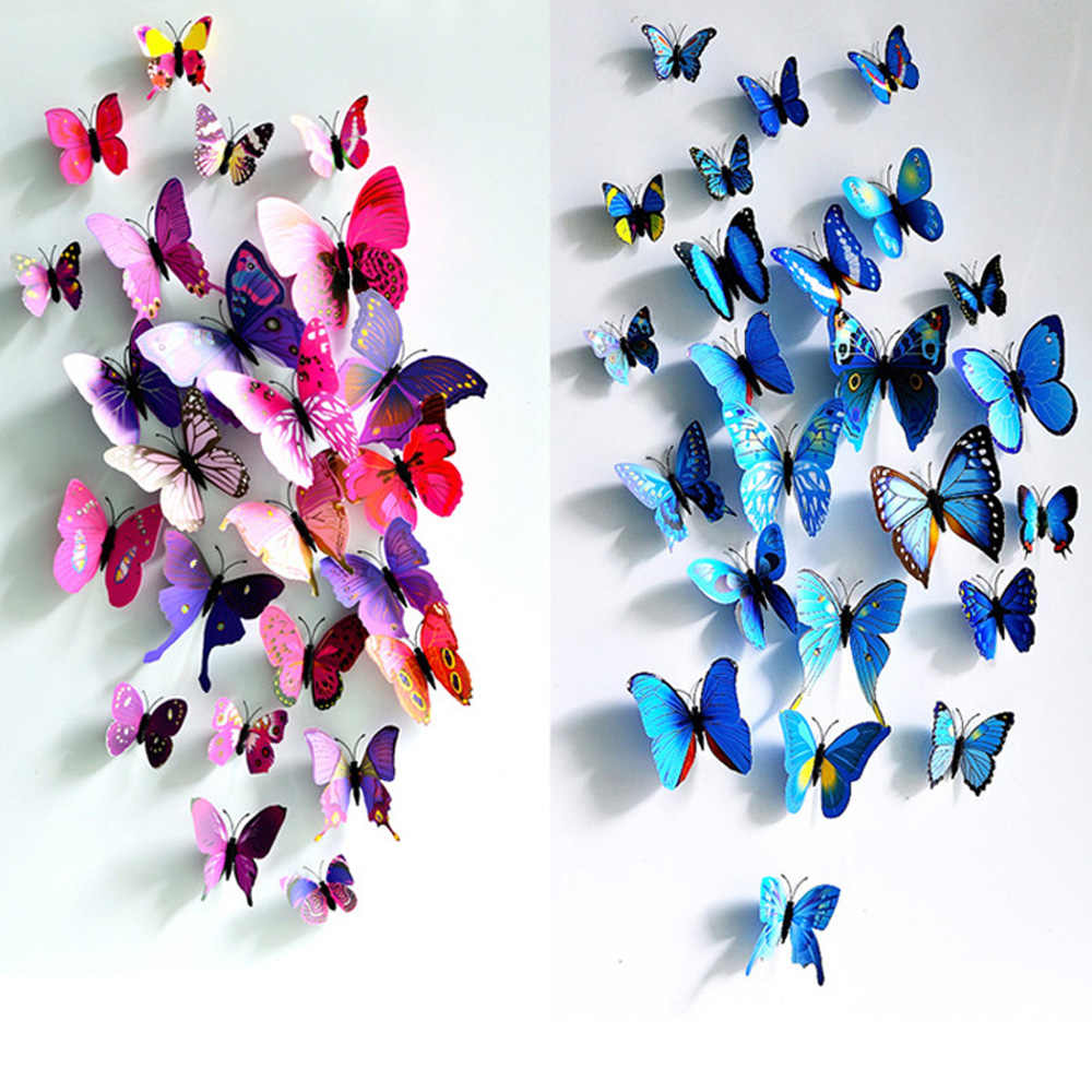 12PCS 3D PVC Wall Stickers Magnet Butterfly 3D Wallpaper Home Decor High Quality Wall Stickers 3D Wallpapers For Living Room