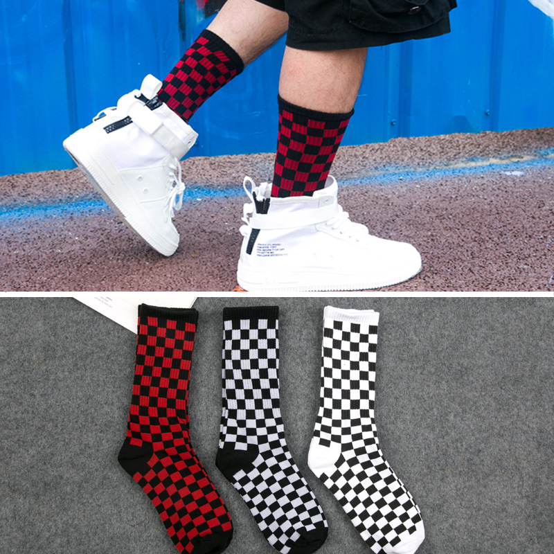 Hot!1 Pair Tide Brand Men Socks Combed Men's Socks Checkered Geometric Color Cotton Novelty Funny Socks Creative Men's Socks(China)